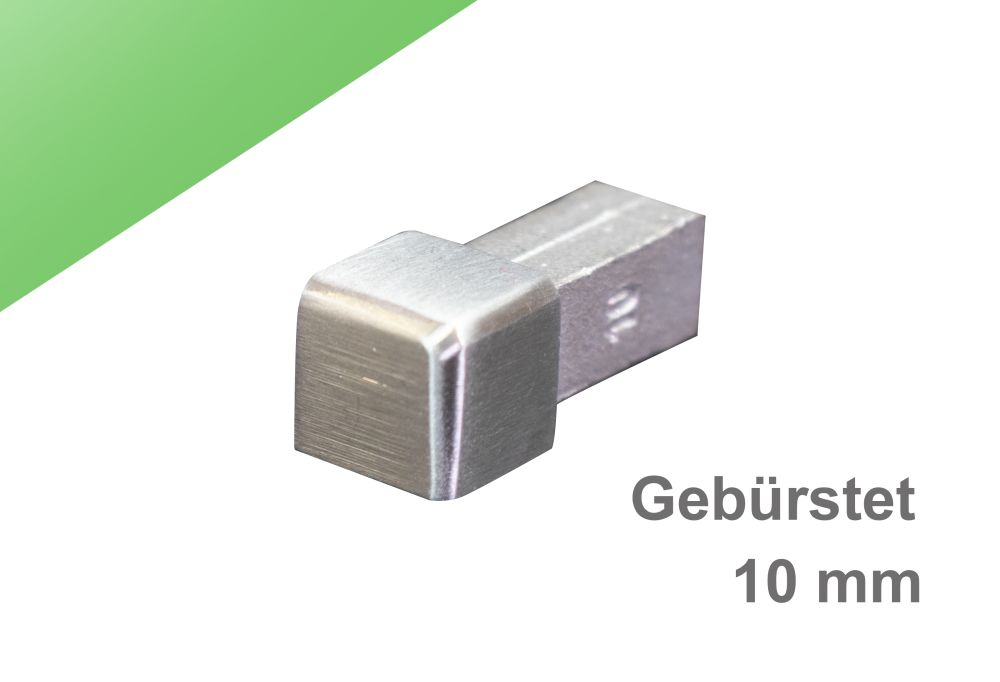 H: 10mm Quadratprofil Edelstahl V2A Gl/änzend PREMIUM FUCHS Ecke kein Abbl/ättern m/öglich Vollmaterial