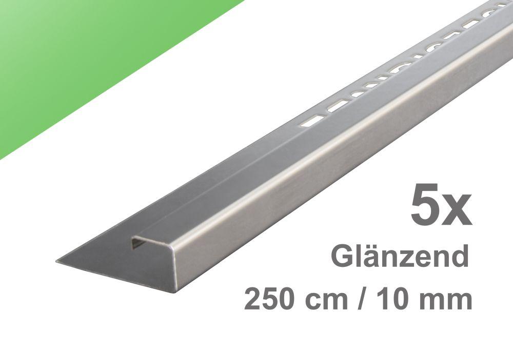 Fliesenschiene Höhe 10mm Quadratprofil Abschlussprofil Edelstahl glänzend 2,5m